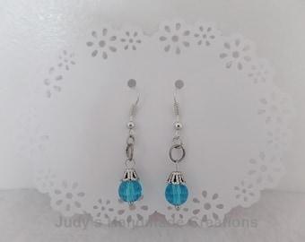 Beaded Crystal Blue Earrings, Blue Bead Earrings, Blue Earrings,Dangle Earrings. women earrings