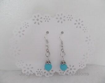Light  Blue Bead Earrings, Bead Earrings, Dange earrings