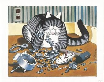 B. Kliban Cat With Broken Clock Humorous, Art Print, Book Page, Illustration, Wall Decor, 1980's Cat Lovers