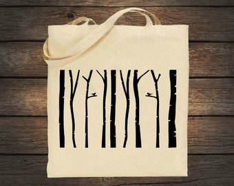 Birch Tree Forest Cotton Tote Bag