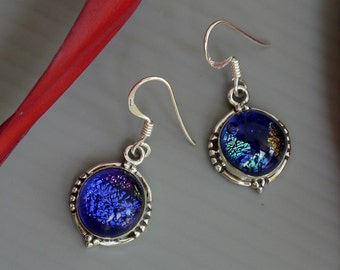 Dichroic Glass Sterling Earrings