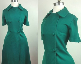 40s Day Dress Green Knit with Buttons M