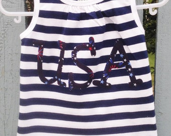 Baby Girl's Knit Tank Top Size 18-24 Months Sleeveless White and Navy Striped with 'U S A' appliqued on Front