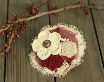 Marsala Fabric Brooch, Fabric Flowers Brooch,Handmade Brooches, Floral,Kids Brooch,Kanzashi