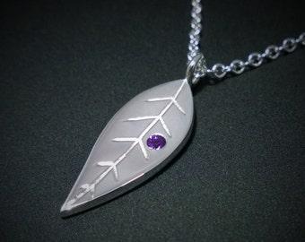 Amethyst Leaf Necklace Pendant in Sterling Silver