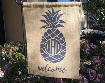 Personalized Pineapple Monogram Garden Flag
