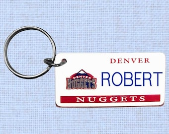 Personalized Denver Nuggets keychain - key ring
