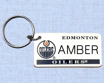 Personalized Edmonton Oilers keychain - key ring