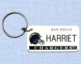 Personalized San Diego Chargers keychain - key ring