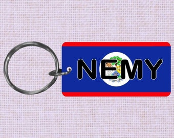 Personalized Belize Country flag keychain