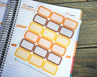 Fall Color Half Box Stickers for Erin Condren, Plum Paper, Happy Planner, InkWELL