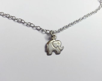 Dainty Sterling Silver Elephant Necklace. Little silver elephant pendant necklace. Birthday gift. Christmas gift. UK seller