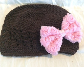 Chocolate Brown Crochet Beanie Hat, Kufi Hat with Light Pink Chiffon Rosette Bow