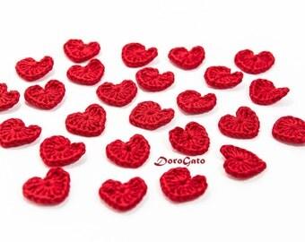 Crochet hearts applique, Red hearts, Crochet appliques, Valentines day embellishment, wedding decorations, crochet hearts /set of 5/