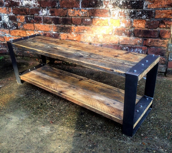 Industrial Chic Coffee Table: Industrial Chic Style Reclaimed Custom Coffee Table Tv Unit