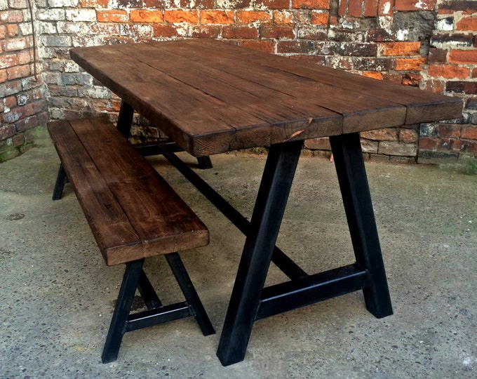 awesome reclaimed industrial chic seater solid wood and meta