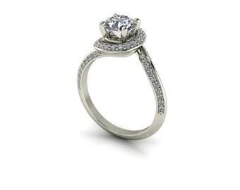 Forever One Round Moissanite Pavé Vintage Single Spiral Diamond Engagement Ring