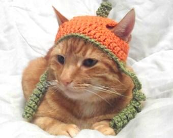 Crochet Cat Hat, Halloween Pumpkin Hat for Cats, Cat Halloween Costume, Novelty Hats for Cats.