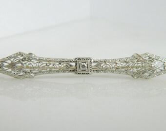 Beautiful Art Deco 14K Gold Diamond Pin