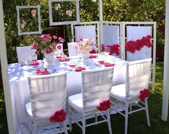 White Chair Cover with Pink Flower. Free shipping!