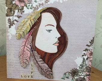 Hand Stamped Card Girl with Feathers in her Hair