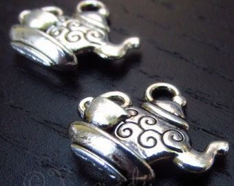Teapot And Teacup Charm Pendants - 10/20/50 Wholesale Silver Plated Charm Findings C5809