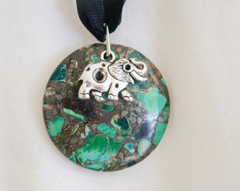 Elephant Charm and Natural Stone Pendant
