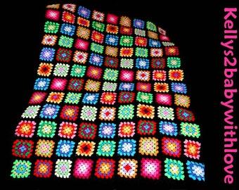 Large Handmade Crochet Black & Multi-Coloured Granny Square Baby Blanket Afghan