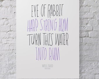 Harry Potter Spell Poster / Print / Eye of Rabbit / Rum / Drink / Typography