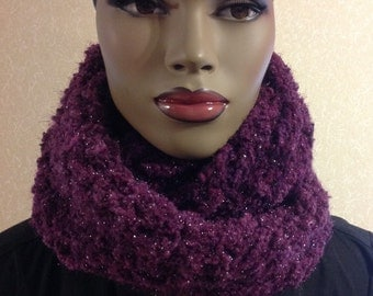 Scarf/Mother's day gift/handmade/Crochet infinity scarf/clothing/purple/women accessories/circle scarf/loop scarf/hood scarf/neckwarmer