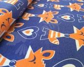 Organic-cottonEuro knit fabric/ KARKKIS Blue / designed by Sari Ahokainen/ Fox pattern/ Animal pattern/ by 1/2 yard