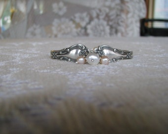Sterling Silver Spoon Bracelet, Spoon Jewelry, Sterling Bracelet, Silver Beaded Bracelet, Pearls, c. 1900, Lots of Sterling