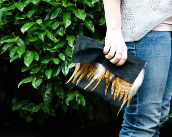 Handmade Black Leather Evening Clutch with Feather Accents