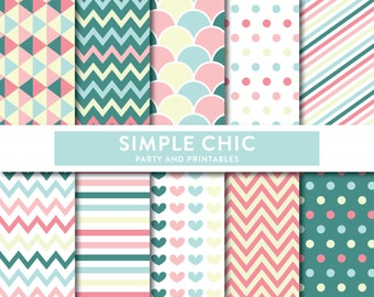 Instant Download, Simple Chic Digital Scrapbook Papers, Colorful Pattern Digital Papers, Scrapbooking, Invitation, Party Decor(SP05)