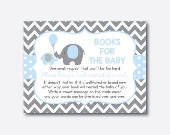 Instant Download, Elephant Books For The Baby, Bring A Book Instead Of A  Card