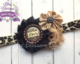 Personalized Cheetah Print Shabby Headband, Clip, Barrette, Baby, Newborn, Toddler, Leopard Baby Bow, Black Cheetah Infant Headband, Newborn