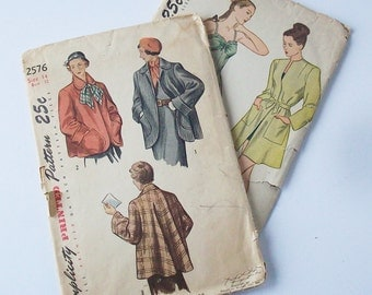 Womans Coat Pattern / 1940's Flare Style / Normal Size / Interesting construction information on this style swing coat
