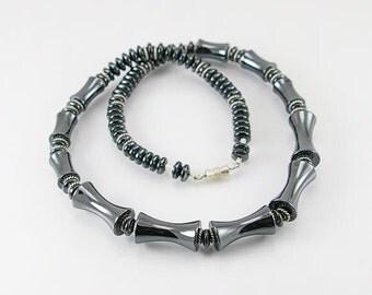 Hematite men necklace, mens necklace, mens jewelry, mens chocker, mens gift