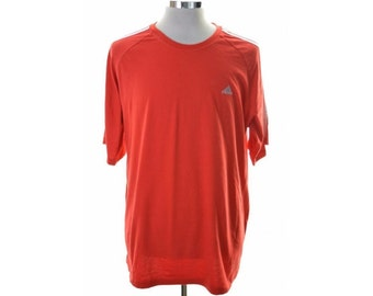 Adidas Mens T-Shirt Top XXL Red Cotton Polyester