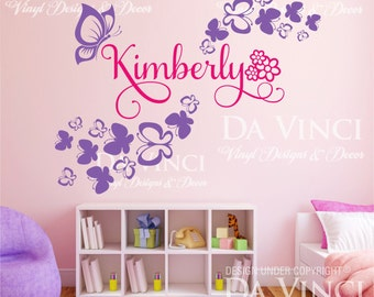 Butterflies Flowers Personalized Custom Name Vinyl Decal Sticker Wall Room G