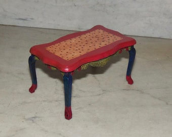 Hand Painted Dining Room Table for 1:12th Dollhouse.  Queen Ann Legs. Carved.