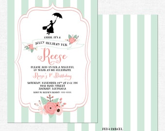 Mary Poppins Birthday Invitations | Girl Party | Spoonful of Sugar | Stripes | Pink and Green | Jolly Holiday-FREE SHIPPING or DIY printable