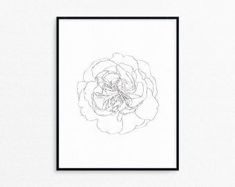 Clove Flower Line Art Print/Printable/Wall Decor/Black and White/Floral/Wall Art/Drawing/Botanical/Nature/AP49
