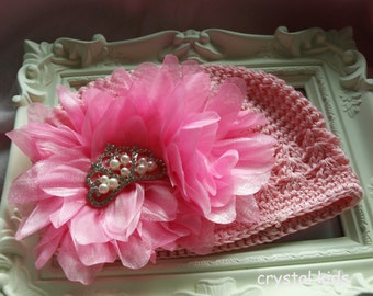 SALE ** SALE ** Gorgeous Baby Girl Hat Pink frilly Shabby Chic Crochet Hat  0-6 months