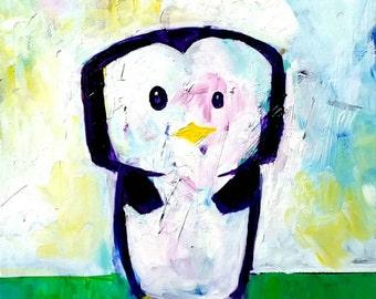Acrylic Penguin Painting