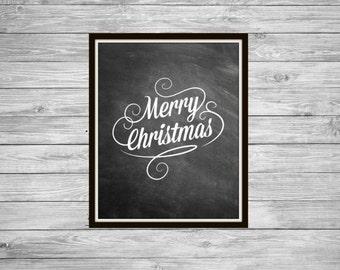 Merry Christmas - Chalkboard Art, Christmas, Chalkboard Decor, Home Decor, Wall Art, Merry Christmas, Calligraphy Art, Black and White