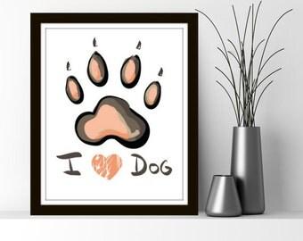 I Heart Dog - Dog Wall Art, Dog Print, Puppy Print, Dog Print, Dog Lover, Dog Art, Paw Print Art, Animal Lover, Puppy Print, Paw Print