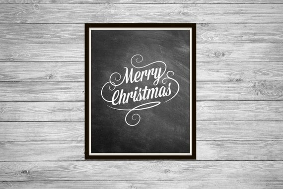 Merry Christmas Quote Wall Art Decal: Merry Christmas Chalkboard Art Christmas Chalkboard Decor