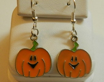 Silver Pumpkin Halloween Jack O Lantern Earrings V4078