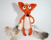 Needle Felted Fox. Needle Felted Animal. Red Dog-Fox. Funny. Felt Toys. Fox with Chicken. Soft Sculpture. Made to order.